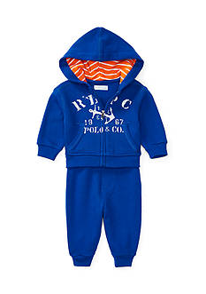 Ralph Lauren Childrenswear Cotton Hoodie & Pant Set Baby Boy