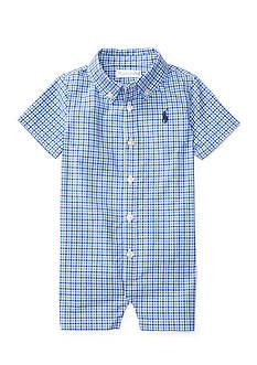 Ralph Lauren Childrenswear Tattersall Cotton Shortall Baby Boy