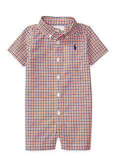 Ralph Lauren Childrenswear Tattersall Cotton Shortall Baby Boy