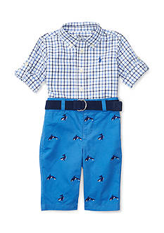 Ralph Lauren Childrenswear Poplin/Twill- Schiffli Pant Set Baby Boy