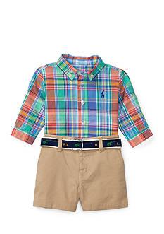 Ralph Lauren Childrenswear Madras Shirt, Short & Belt Set Infant Boys
