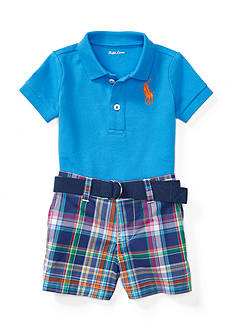 Ralph Lauren Childrenswear Cotton Polo and Plaid Short Set