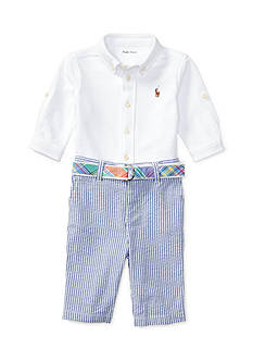 Ralph Lauren Childrenswear 3-Piece Seersucker Shirt, Belt, and Pants Set Infants