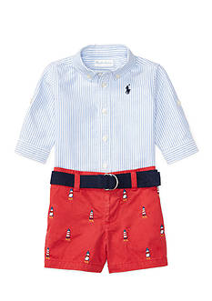 Ralph Lauren Childrenswear 3-Piece Shirt, Short, and Belt Set