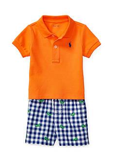 Ralph Lauren Childrenswear 2-Piece Mesh Shirt and Gingham Short Set