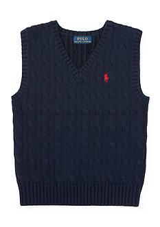 Ralph Lauren Childrenswear Cable-Knit Cotton Sweater Vest Toddler Boy