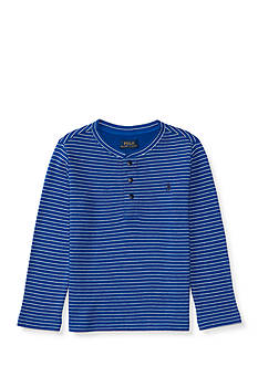 Ralph Lauren Childrenswear Waffle Knit Cotton Henley Top Toddler Boys