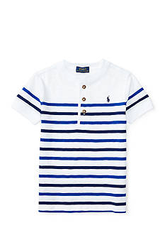 Ralph Lauren Childrenswear Gauze Jersey Short Sleeve Henley Top Toddler Boys