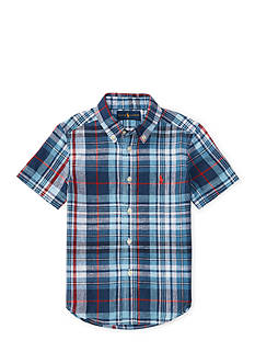 Ralph Lauren Childrenswear Plaid Slub Linen-Cotton Shirt Toddler Boys