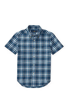 Ralph Lauren Childrenswear Indigo Madras Cotton Shirt Toddler Boys