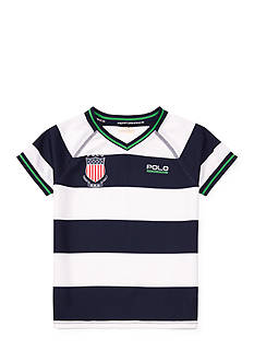 Ralph Lauren Childrenswear Striped Performance V-Neck Tee Toddler Boys