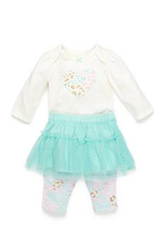 Nursery Rhyme 3-Piece Leopard Heart Bodysuit, Tutu and Legging Set