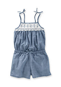 OshKosh B'gosh® Chambray Crochet Romper Toddler Girls