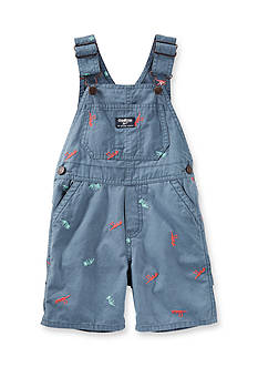 OshKosh B'gosh Schiffli Dino Canvas Shortalls Toddler Boys