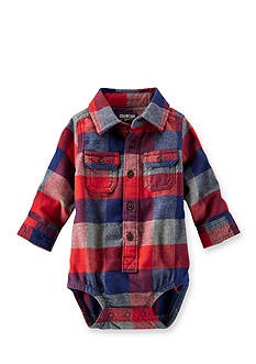 OshKosh B'gosh® Long Sleeve Plaid Bodysuit