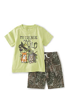 Kids Headquarters 2-Piece Wild Animal Tee and Shorts Set