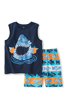 Kids Headquarters 2-Piece Shark Muscle Top and Shorts Set