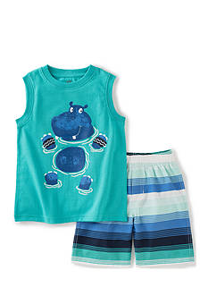 Kids Headquarters 2-Piece Hippo Muscle Top and Shorts Set