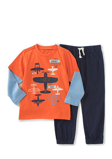 Kids Headquarters 2-Piece Airplane Tee and Jogger Pant Set Toddler Boys