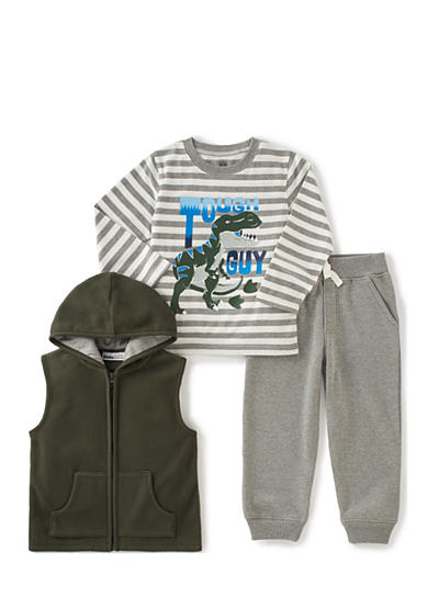 Kids Headqrtrs Inf/Tdlr 3-Piece Sherpa Vest, Dino Tee, and Sweatpants Set Toddler Boys