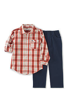Kids Headquarters 2-Piece Plaid Shirt and Pant Set