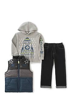 Kids Headqrtrs Inf/Tdlr 3-Piece Striped Vest, Spaceship Thermal Hoodie, and Denim Pants Set