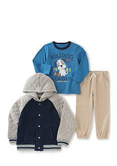Kids Headquarters 3-Piece Winter Hooded Fleece, Bulldog League Shirt, and Jogger Pants Set