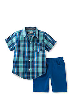 Kids Headquarters 2-Piece Woven Plaid Set Toddler Boys