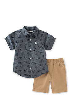 Kids Headquarters 2-Piece Dinosaur Shirt and Khaki Short Set