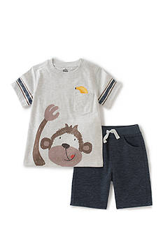 Kids Headquarters 2-Piece Monkey Tee and Short Set
