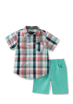 Kids Headquarters 2-Piece Plaid Shirt and Short Set