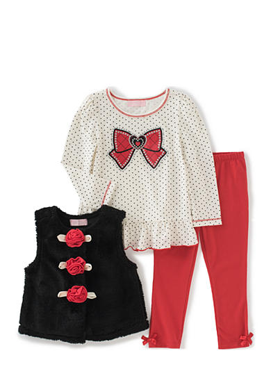 Kids Headquarters 3-Piece Vest, Polka Dot Top, and Leggings Set