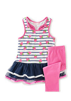 Kids Headquarters 2-Piece Strawberry Tunic and Leggings Set