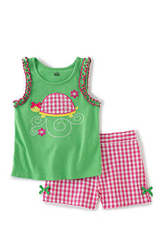 Kids Headqrtrs Inf/Tdlr 2-Piece Turtle Tank Top and Plaid Short Set Toddler Girls