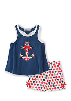 Kids Headqrtrs Inf/Tdlr 2-Piece Anchor Tank Top and Stars Short Set Toddler Girls