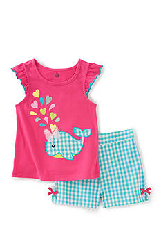 Kids Headqrtrs Inf/Tdlr 2-Piece Whale Top and Plaid Short Set Toddler Girls
