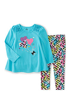 Kids Headquarters 2-Piece Hearts Tunic and Animal Print Pants Set