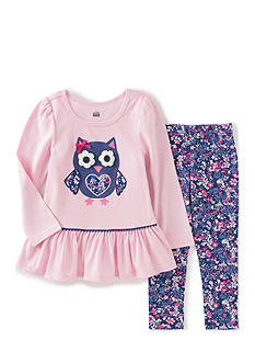 Kids Headquarters Owl Tunic and Floral Print Pants Set