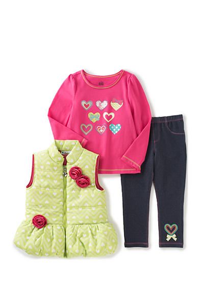 Kids Headquarters 3-Piece Puffer, Top and Pant Set