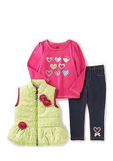 Kids Headquarters 3-Piece Vest, Tee, and Pant Set Infant Girls