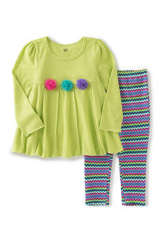 Kids Headquarters Green Rosette Chevron Tunic and Leggings Set Toddler Girls