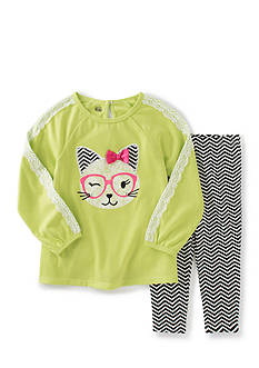 Kids Headquarters Cat Applique Tunic and Chevron Print Leggings Set Toddler Girls