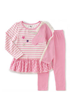 Kids Headquarters Stripe Unicorn Tunic and Leggings Set Toddler Girls