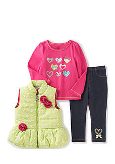 Kids Headquarters Heart Vest with Tee and Pants Set Toddler Girls