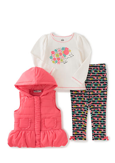 Kids Headquarters Flower Vest with Tee and Pants Set Toddler Girls