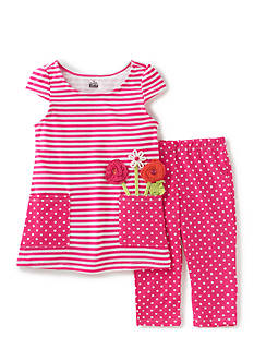 Kids Headquarters 2-Piece Stripe Dot Leggings Set