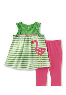 Kids Headquarters 2-Piece Flamingo Tunic and Capri Set