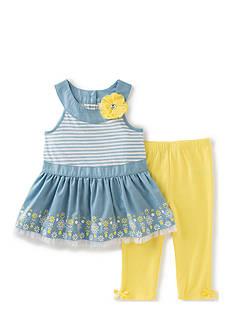 Kids Headquarters 2-Piece Chambray Capri's Set