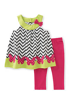 Kids Headquarters 2-Piece Chevron Butterfly Capri's Set