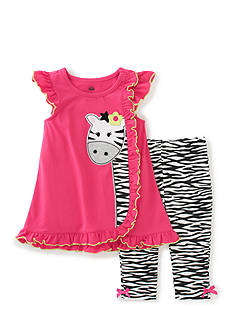 Kids Headquarters 2-Piece Zebra Top And Legging Set Toddler Girls